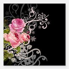 "Rose Elegance Square Car Magnet 3"" x 3"""