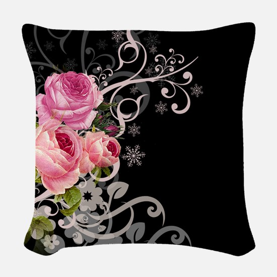 Rose Elegance Woven Throw Pillow