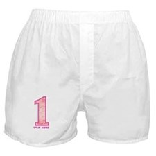 1st Birthday Personalized Pink Camo Boxer Shorts