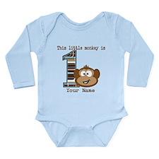 1st Birthday Monkey Personalized Long Sleeve Infan