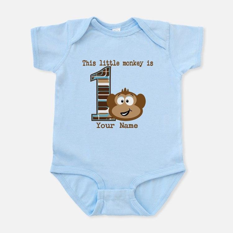 1st Birthday Monkey Personalized Infant Bodysuit