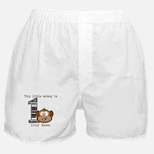 1st Birthday Monkey Personalized Boxer Shorts