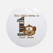 1st Birthday Monkey Personalized Ornament (Round)