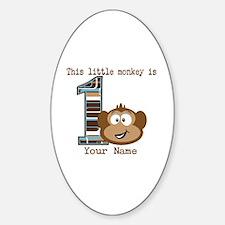 1st Birthday Monkey Personalized Sticker (Oval)