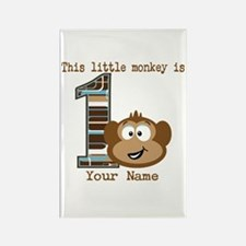 1st Birthday Monkey Personalized Rectangle Magnet