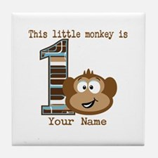 1st Birthday Monkey Personalized Tile Coaster