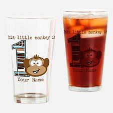 1st Birthday Monkey Personalized Drinking Glass