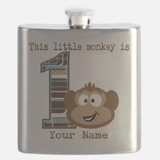 1st Birthday Monkey Personalized Flask