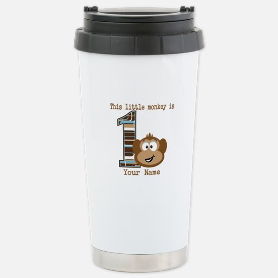 1st Birthday Monkey Personalized Stainless Steel T