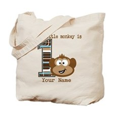 1st Birthday Monkey Personalized Tote Bag