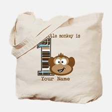 1st Birthday Monkey Personalized Tote Bag