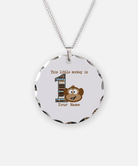 1st Birthday Monkey Personalized Necklace Circle C