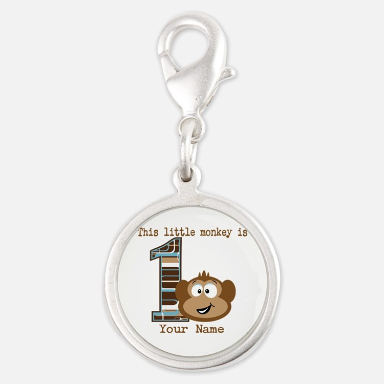1st Birthday Monkey Personalized Silver Round Char
