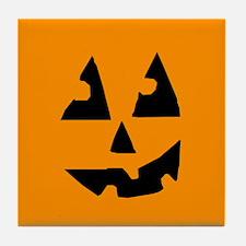 Pumpkin Face Orange Tile Coaster