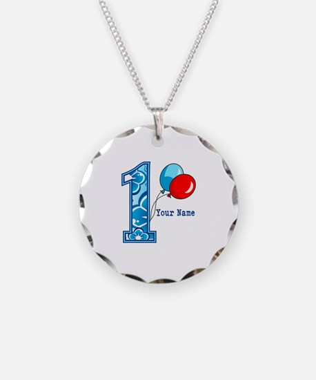 1st Birthday Floral and Balloons Necklace Circle C