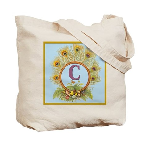 Letter C Vintage Peacock Feathers Monogram Tote