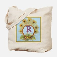 Letter R Vintage Peacock Feathers Monogram Tote