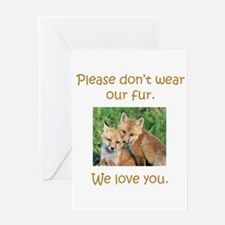 Fox No Fur Greeting Cards