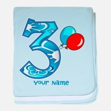 3rd Birthday Balloons Personalized baby blanket