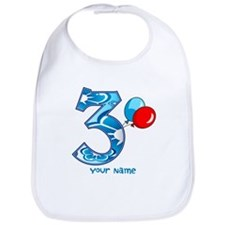 3rd Birthday Balloons Personalized Bib