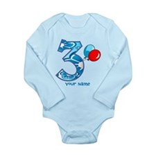 3rd Birthday Balloons Personalized Long Sleeve Inf