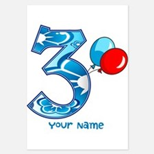 3rd Birthday Balloons Personalized Invitations
