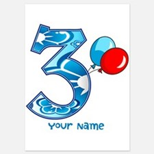 3rd Birthday Balloons Personalized 5x7 Flat Cards