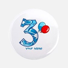 "3rd Birthday Balloons Personalized 3.5"" Button (10"