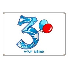 3rd Birthday Balloons Personalized Banner