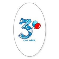 3rd Birthday Balloons Personalized Decal