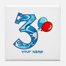 3rd Birthday Balloons Personalized Tile Coaster