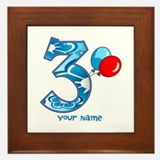 3rd Birthday Balloons Personalized Framed Tile