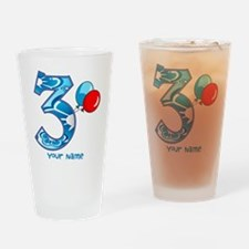 3rd Birthday Balloons Personalized Drinking Glass