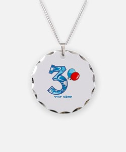 3rd Birthday Balloons Personalized Necklace