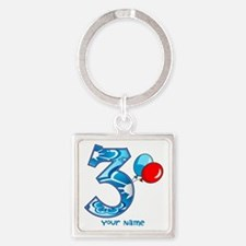 3rd Birthday Balloons Personalized Square Keychain