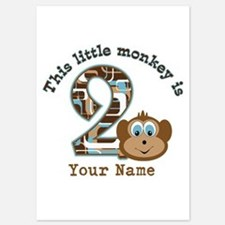 2nd Birthday Monkey Personalized 5x7 Flat Cards
