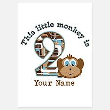2nd Birthday Monkey Personalized Invitations