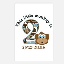 2nd Birthday Monkey Personalized Postcards (Packag