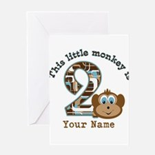 2nd Birthday Monkey Personalized Greeting Card