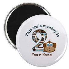 "2nd Birthday Monkey Personalized 2.25"" Magnet (100"