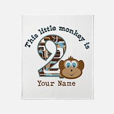 2nd Birthday Monkey Personalized Throw Blanket