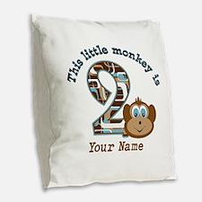 2nd Birthday Monkey Personalized Burlap Throw Pill