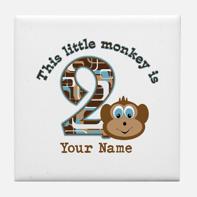 2nd Birthday Monkey Personalized Tile Coaster