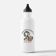 2nd Birthday Monkey Personalized Water Bottle