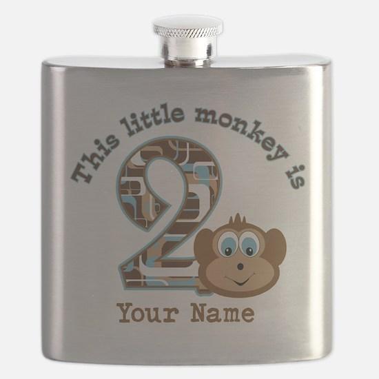 2nd Birthday Monkey Personalized Flask