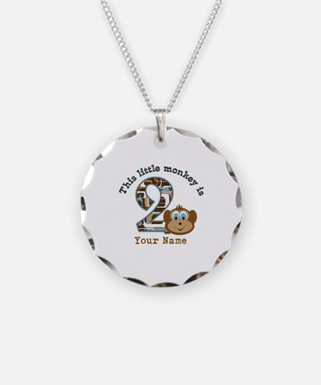 2nd Birthday Monkey Personalized Necklace