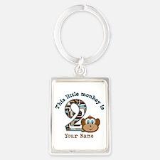 2nd Birthday Monkey Personalized Portrait Keychain