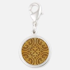 AMBER Silver Round Charm