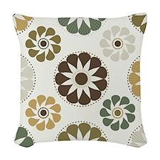 Retro Mod Floral Woven Throw Pillow