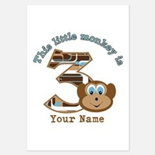 3rd Monkey Birthday Personalized Invitations